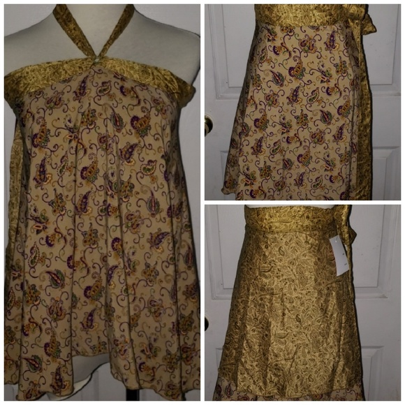 2200c27442bab Indian Silk Sari Reversible Wrap Skirt Top